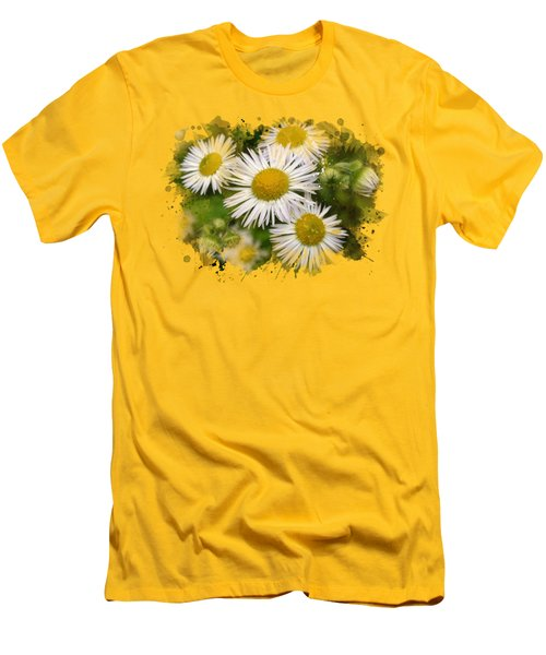 Daisy Watercolor Art Men's T-Shirt (Slim Fit) by Christina Rollo