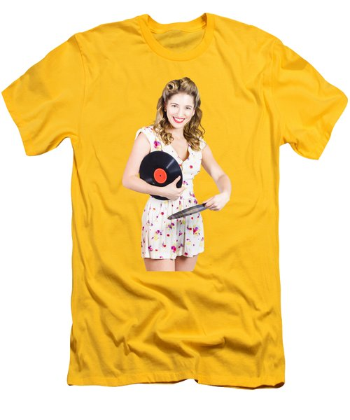 Dj Disco Pin-up Girl Rocking Out To Retro Vinyl  Men's T-Shirt (Slim Fit) by Jorgo Photography - Wall Art Gallery