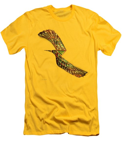 Men's T-Shirt (Slim Fit) featuring the digital art Emerald Wings by Asok Mukhopadhyay