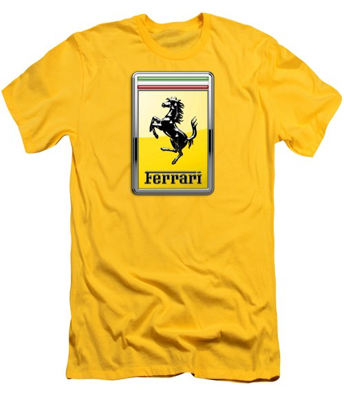 Ferrari 3d Badge- Hood Ornament On Yellow Men's T-Shirt (Slim Fit) by Serge Averbukh