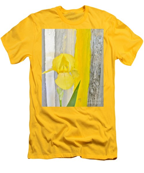 First Yellow Iris Men's T-Shirt (Slim Fit) by Marsha Heiken