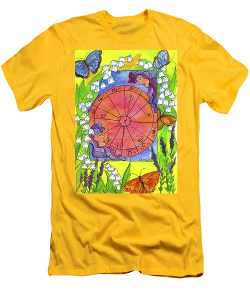 Men's T-Shirt (Slim Fit) featuring the painting Gemini by Cathie Richardson