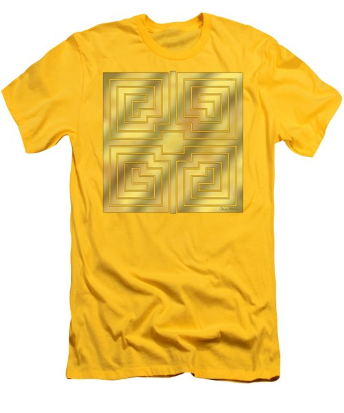 Men's T-Shirt (Slim Fit) featuring the digital art Gold Geo 4 - Chuck Staley Design  by Chuck Staley