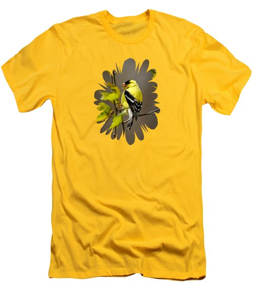 Goldfinch Suspended In Song Men's T-Shirt (Slim Fit) by Christina Rollo
