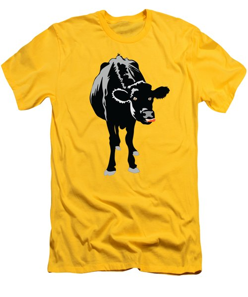 Goofy Looking Black Cow Licks Her Nose Men's T-Shirt (Athletic Fit)