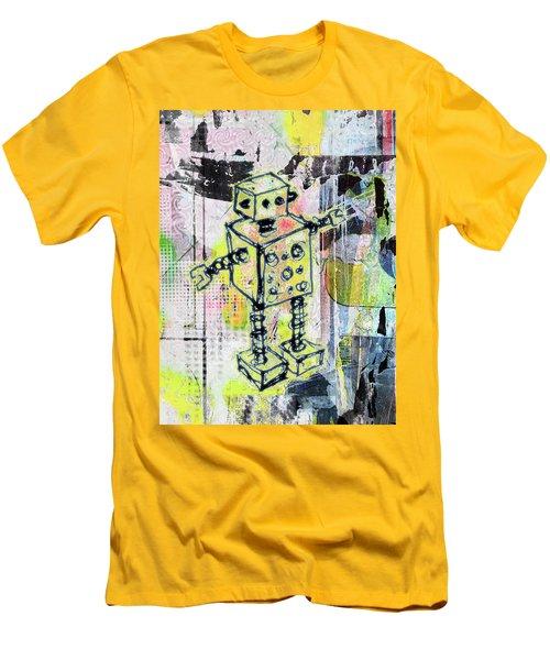 Graffiti Graphic Robot Men's T-Shirt (Athletic Fit)