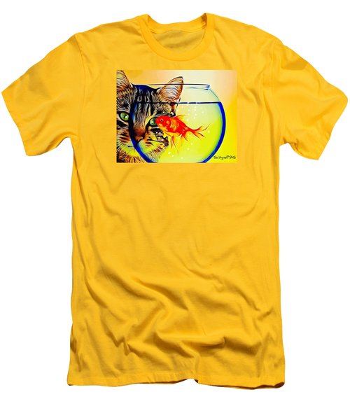 Men's T-Shirt (Slim Fit) featuring the painting Guess Who's Coming To Dinner? by Ted Azriel