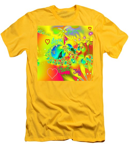 Men's T-Shirt (Slim Fit) featuring the mixed media Happiness by Kevin Caudill