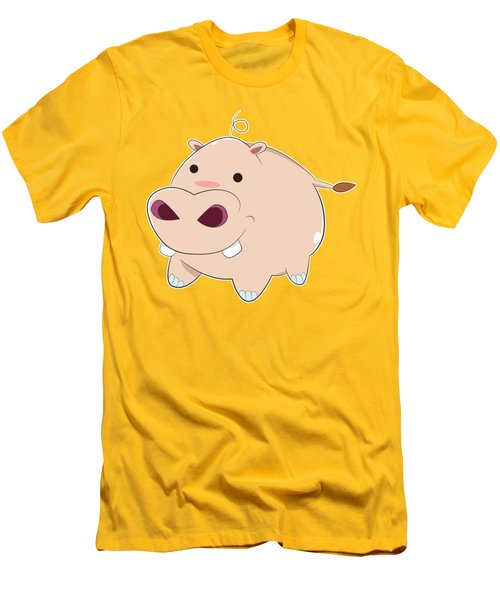 Happy Cartoon Baby Hippo Men's T-Shirt (Athletic Fit)