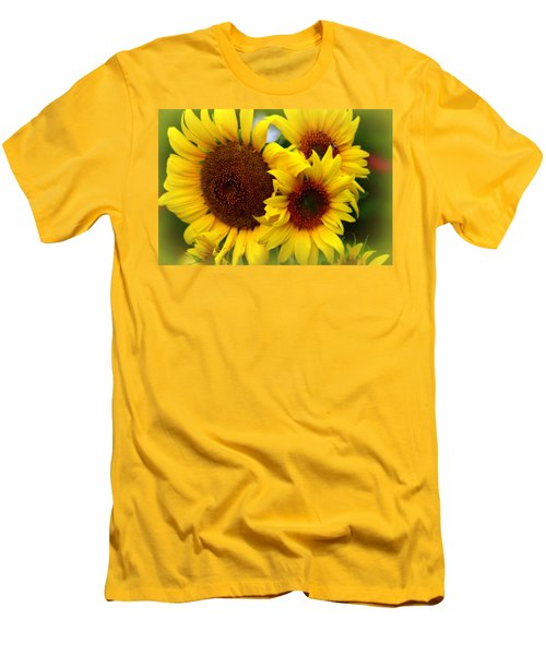 Men's T-Shirt (Slim Fit) featuring the photograph Happy Sunflowers by Kay Novy