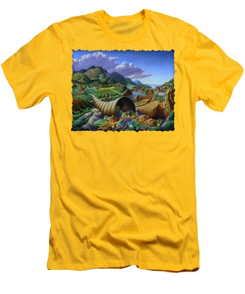 Horn Of Plenty - Cornucopia - Autumn Thanksgiving Harvest Landscape Oil Painting - Food Abundance Men's T-Shirt (Athletic Fit)