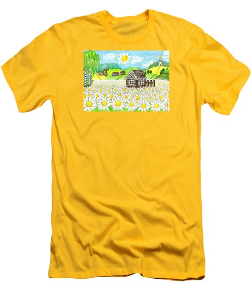 House With Camomiles, Painting Men's T-Shirt (Slim Fit) by Irina Afonskaya