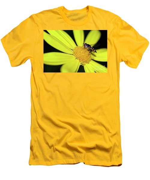 Men's T-Shirt (Athletic Fit) featuring the photograph Hoverfly On Bright Yellow Daisy By Kaye Menner by Kaye Menner
