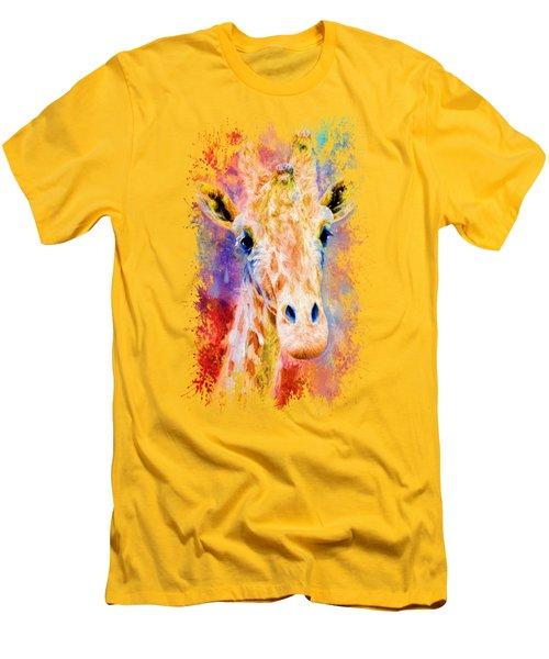 Jazzy Giraffe Colorful Animal Art By Jai Johnson Men's T-Shirt (Athletic Fit)