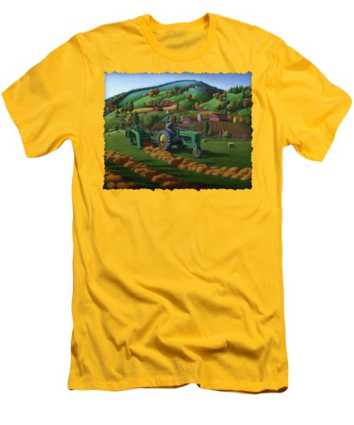 John Deere Tractor Baling Hay Farm Folk Art Landscape - Vintage - Americana Decor -  Painting Men's T-Shirt (Slim Fit)