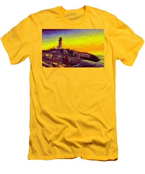 Lighthouse Sunset Men's T-Shirt (Slim Fit) by Caito Junqueira
