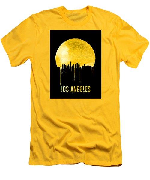 Los Angeles Skyline Yellow Men's T-Shirt (Slim Fit) by Naxart Studio