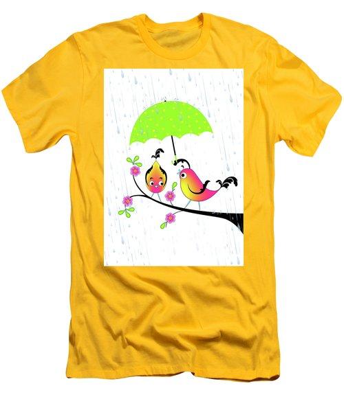 Love Birds In Rain Men's T-Shirt (Athletic Fit)