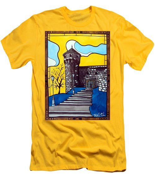 Men's T-Shirt (Slim Fit) featuring the painting Medieval Bastion -  Mace Tower Of Buda Castle Hungary By Dora Hathazi Mendes by Dora Hathazi Mendes