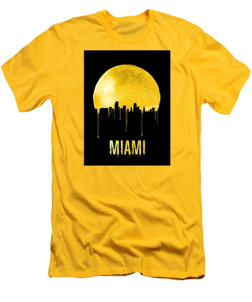 Miami Skyline Yellow Men's T-Shirt (Slim Fit) by Naxart Studio