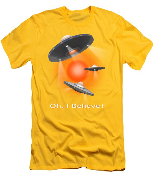 Oh I Believe  Se Men's T-Shirt (Slim Fit) by Mike McGlothlen
