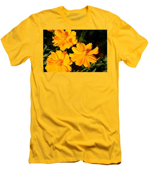 Men's T-Shirt (Slim Fit) featuring the photograph Cosmos Trio by Sheila Brown