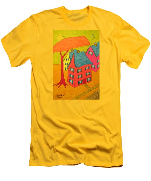 Orange Umbrella Tree And Three Homes Men's T-Shirt (Athletic Fit)
