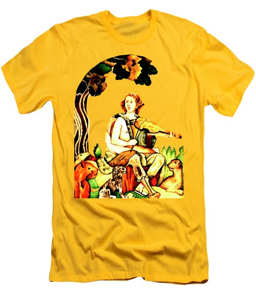 Men's T-Shirt (Slim Fit) featuring the mixed media Orpheus by Asok Mukhopadhyay