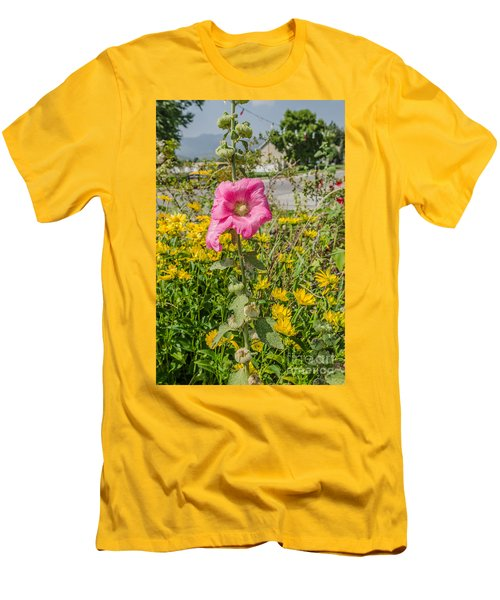 Men's T-Shirt (Slim Fit) featuring the photograph Perfect Pink Hollyhocks by Sue Smith