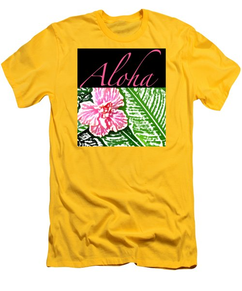 Pink Hibiscus Aloha Men's T-Shirt (Slim Fit) by James Temple