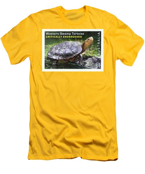 Men's T-Shirt (Athletic Fit) featuring the photograph Postage Stamp - Western Swamp Tortoise By Kaye Menner by Kaye Menner