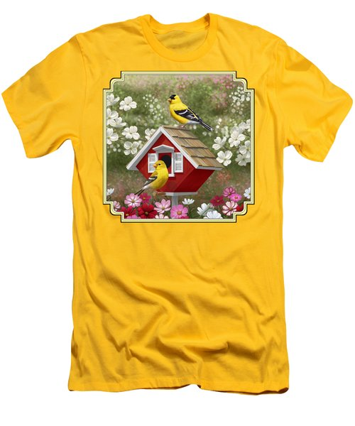 Red Birdhouse And Goldfinches Men's T-Shirt (Slim Fit) by Crista Forest