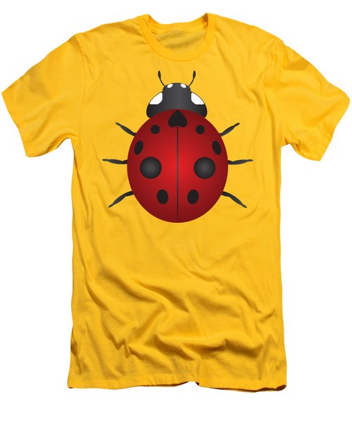 Red Ladybug Color Illustration Men's T-Shirt (Slim Fit) by Jit Lim