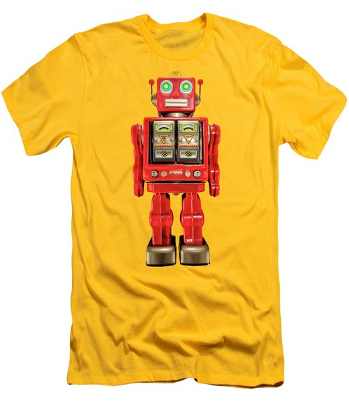 Red Tin Toy Robot Pattern Men's T-Shirt (Slim Fit) by YoPedro