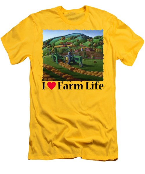 Rustic John Deere Farm Tractor Baling Hay - Rural Country Folk Art Landscape - Summer Americana Men's T-Shirt (Athletic Fit)