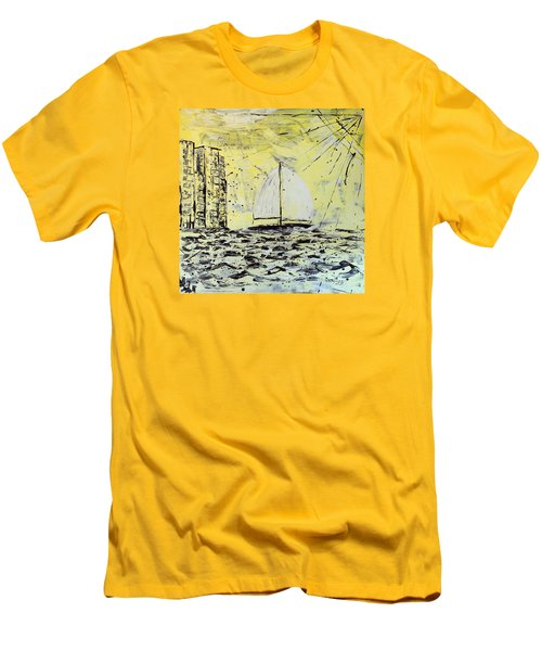 Men's T-Shirt (Slim Fit) featuring the painting Sail And Sunrays by J R Seymour