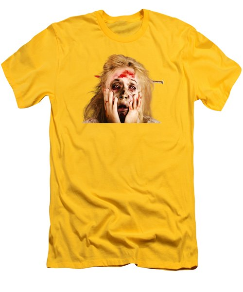 Scared Halloween Monster With Nail Through Head Men's T-Shirt (Slim Fit)