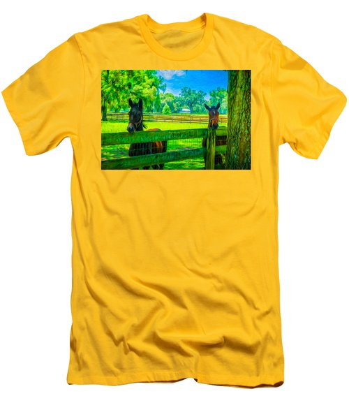 Men's T-Shirt (Slim Fit) featuring the painting Spring Colts by Louis Ferreira