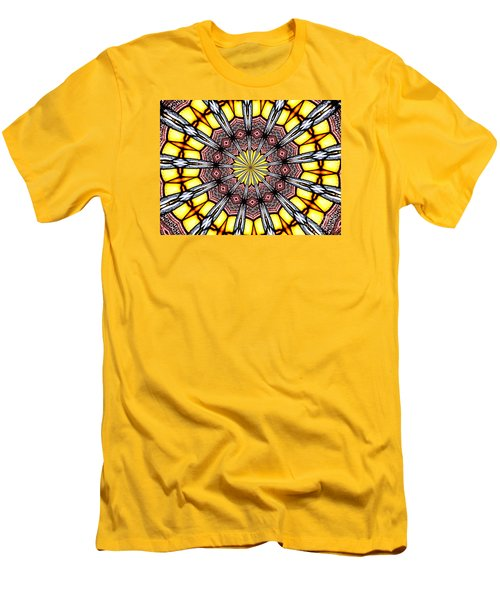 Men's T-Shirt (Slim Fit) featuring the photograph Stained Glass Kaleidoscope 23 by Rose Santuci-Sofranko