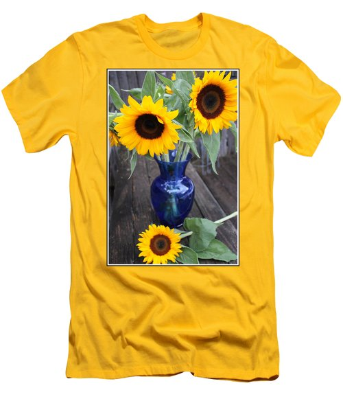 Sunflowers And Blue Vase - Still Life Men's T-Shirt (Slim Fit) by Dora Sofia Caputo Photographic Art and Design