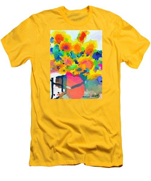 Sunflowers In A Bucket At Rockport Farmers Market Men's T-Shirt (Slim Fit) by Melissa Abbott