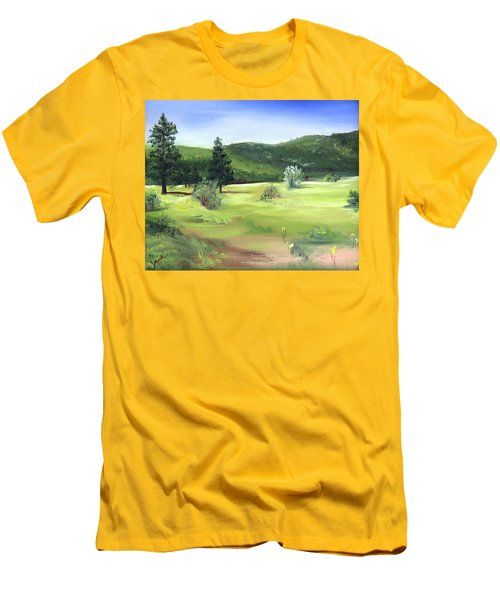 Men's T-Shirt (Slim Fit) featuring the painting Sunlit Mountain Meadow by Jane Autry