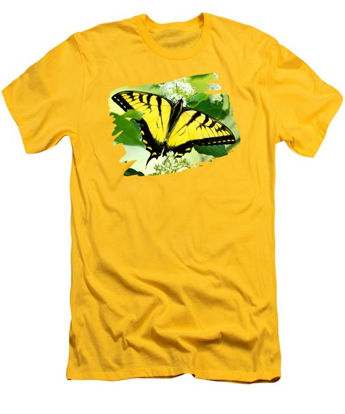 Swallowtail Butterfly Feeding On Flowers Men's T-Shirt (Slim Fit) by Christina Rollo