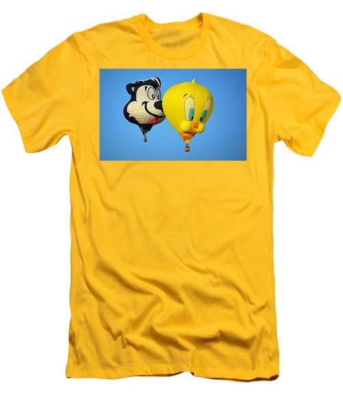 Men's T-Shirt (Athletic Fit) featuring the photograph Sylvester And Tweety Balloons by AJ Schibig