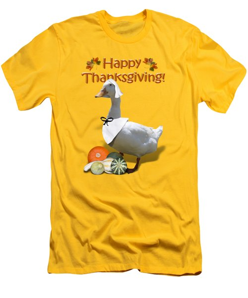 Thanksgiving Pilgrim Duck Men's T-Shirt (Slim Fit) by Gravityx9  Designs