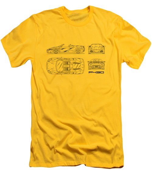 The F430 Blueprint - White Men's T-Shirt (Slim Fit) by Mark Rogan