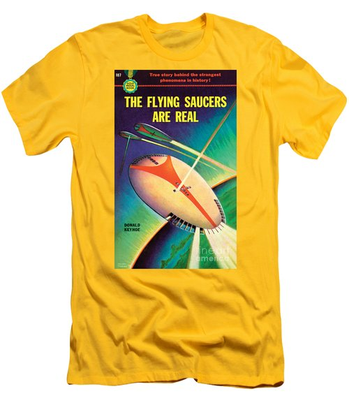 Men's T-Shirt (Slim Fit) featuring the painting The Flying Saucers Are Real by Frank Tinsley