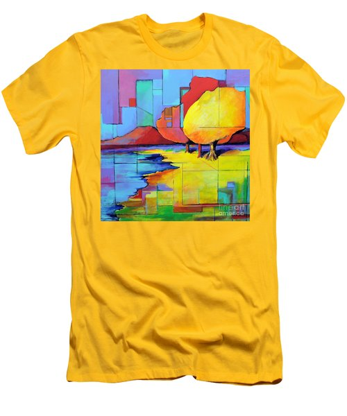 Men's T-Shirt (Slim Fit) featuring the painting The Yellow Tree by Jodie Marie Anne Richardson Traugott          aka jm-ART