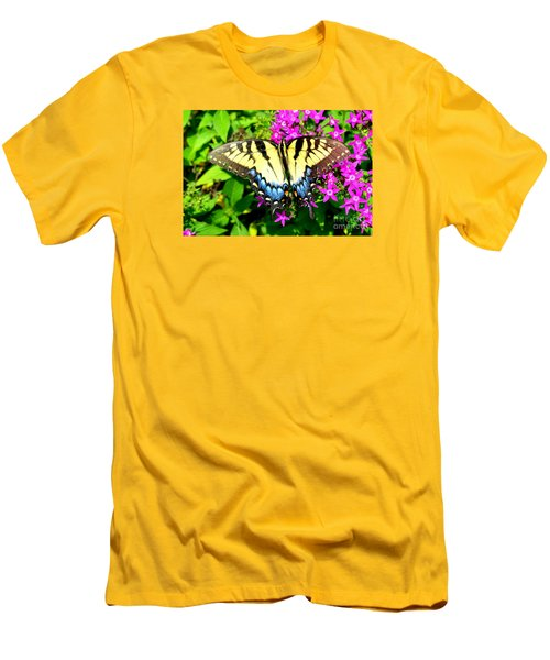 Men's T-Shirt (Slim Fit) featuring the photograph Tiger Swallowtail by Lew Davis