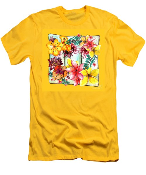 Men's T-Shirt (Athletic Fit) featuring the photograph Tropicana On Yellow By Kaye Menner by Kaye Menner
